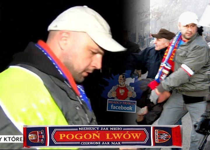 Policjant przebrany za kibica / źródło: TVP INFO