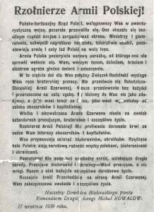 Jedna z ulotek do polskich żołnierzy foto. wikipedia.pl
