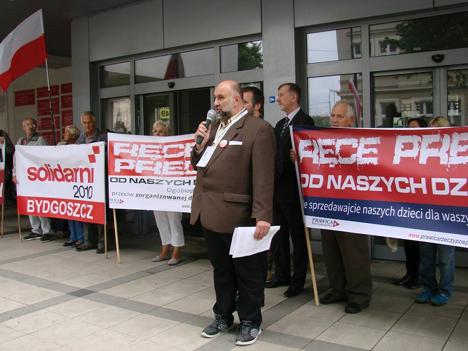 Bydgoski protest przeciwko edukacji seksualnej w polskich szkołach. Foto: Facebook