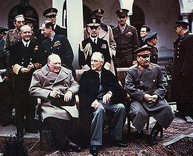 Od lewej: Winston Churchill, Franklin Delano Roosevelt, Józef Stalin foto. wikipedia.pl