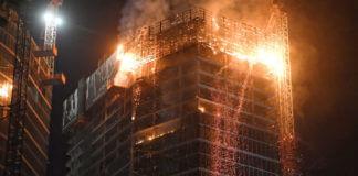 Płonie wieżowiec w Warszawie
