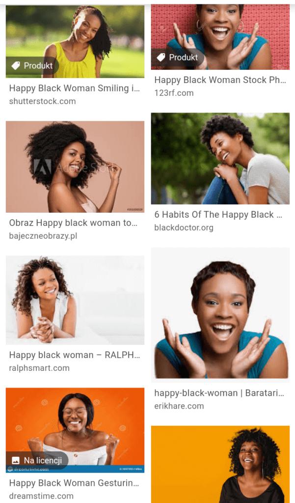 wynik wyszukiwania happy black woman google